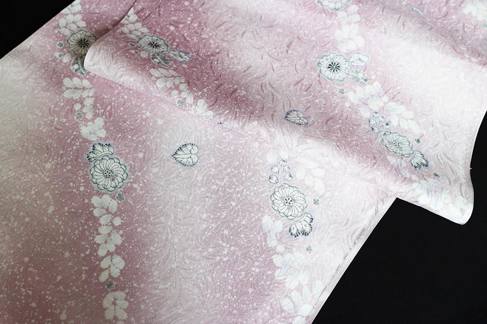 正絹の夏物紋紗着尺「京友禅 唐草の地紋に辻が花」