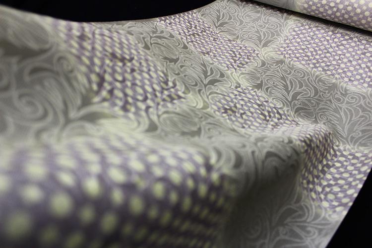正絹の夏物紋紗着尺「京友禅 唐草の地紋に市松星」