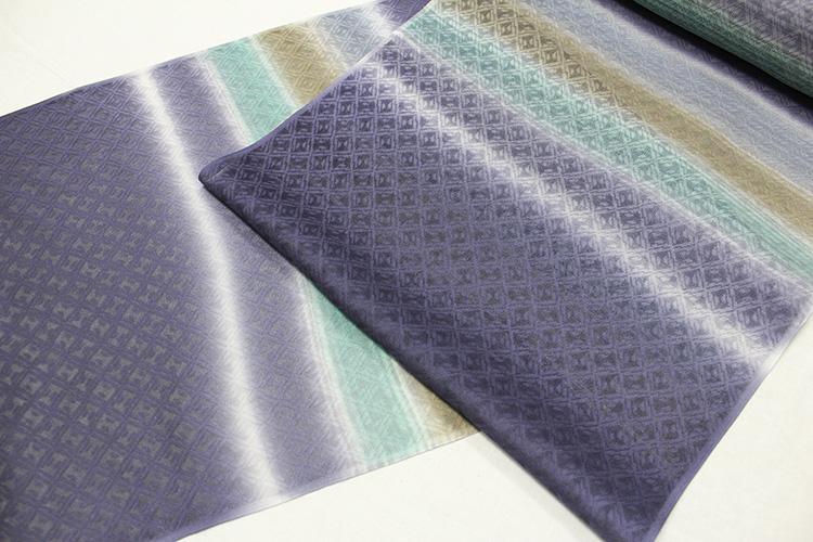 正絹の夏物紋紗着尺「京友禅 菱の地紋に横段ボカシ」