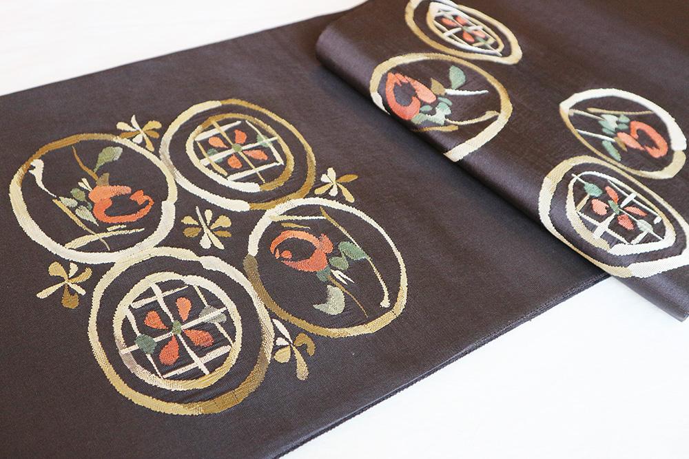 ※厳選仕立上がり商品 正絹おしゃれ袋帯「幾何学調花」