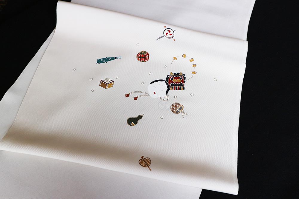 京の名門菱健謹製 五泉産塩瀬九寸名古屋染め帯「節分」
