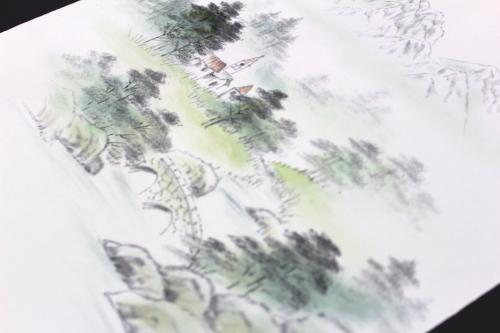 五泉産塩瀬九寸名古屋染め帯「山水風景」