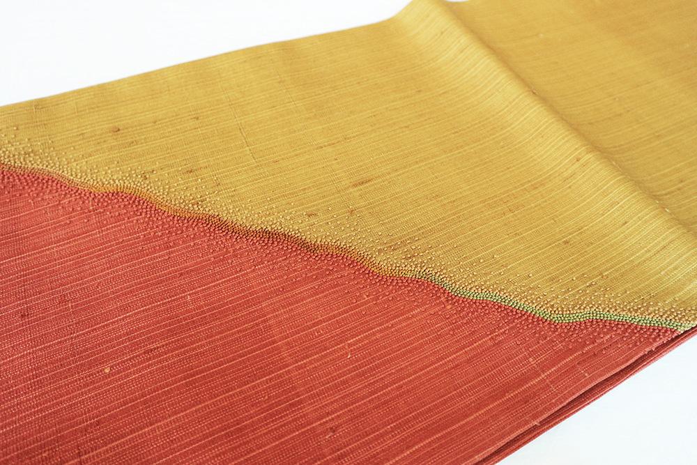 ※厳選仕立上がり商品 正絹おしゃれ袋帯「染め分けに相良刺繍」