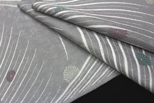 西陣織 ふくい謹製 九寸名古屋帯「流線に菊」