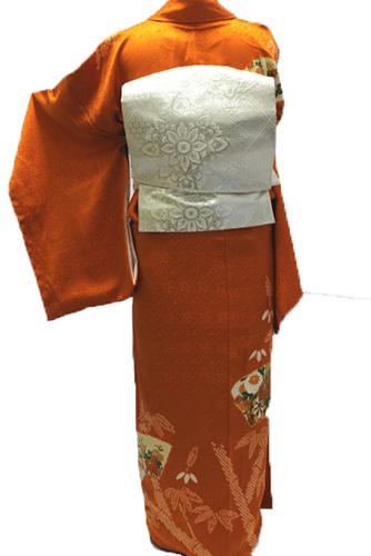 正絹訪問着レンタルフルセット「地紙に花 竹の絞り」