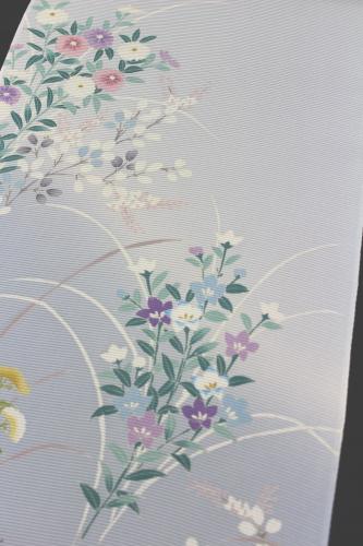 最高級坪金謹製駒絽夏付下「手描友禅 菊萩桔梗」