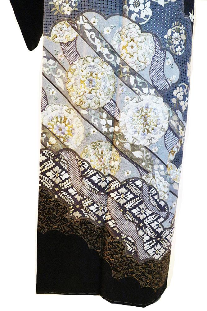 正絹訪問着 レンタルフルセット「汕頭蘇州刺繍 雲取りに道長華紋」