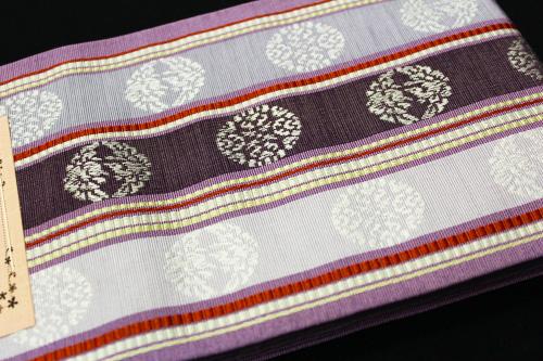 本場筑前博多織小袋帯「向い鶴にストライプ」