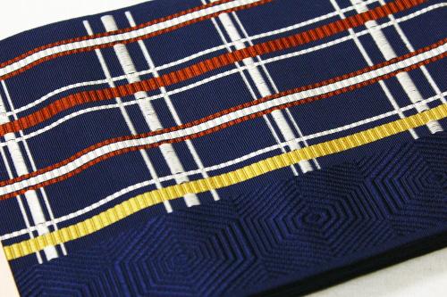 本場筑前博多織小袋帯「格子」