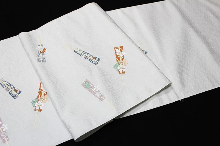 西陣織丸福織物謹製 九寸名古屋帯「扇子に小花」