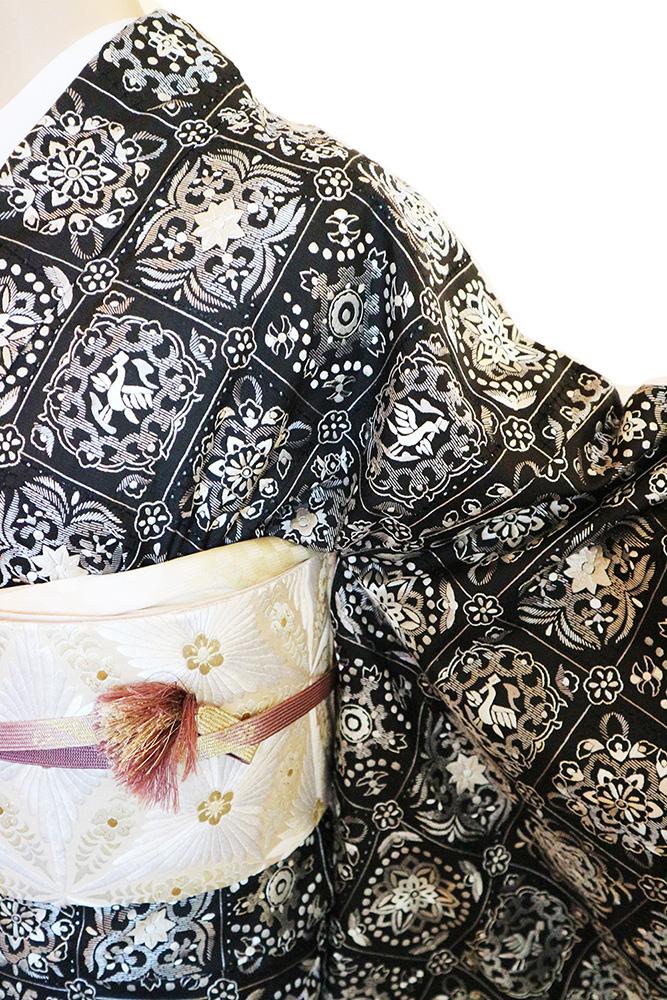 正絹訪問着 レンタルフルセット「総柄汕頭蘇州刺繍 格子華紋」