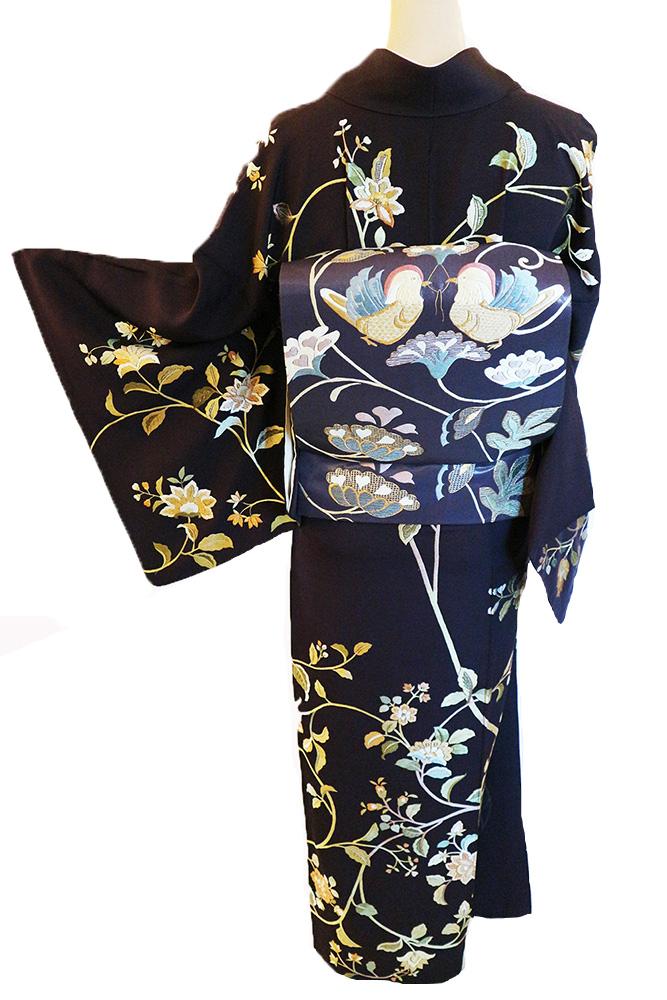 正絹訪問着 レンタルフルセット「蘇州相楽刺繍 唐花」