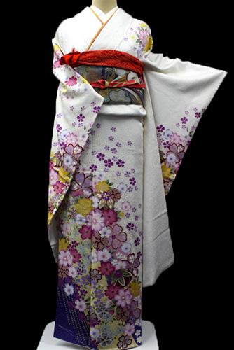 丹後ちりめん振袖レンタルフルセット「斜め取り桜」往復送料無料