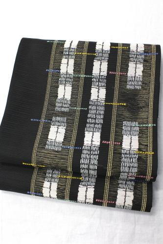 西陣織名門洛陽織物謹製絽袋帯「ストライプに幾何学」