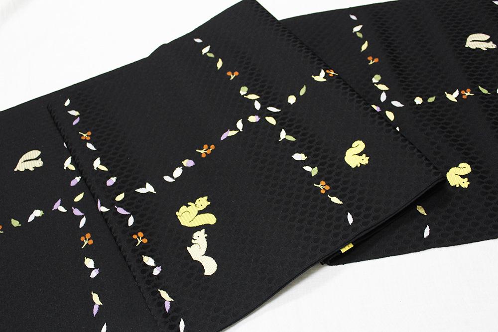 西陣織にんな織物謹製 九寸名古屋帯「どんぐりにリス」