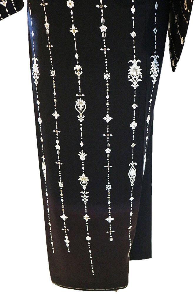 正絹訪問着 レンタルフルセット「総柄刺繍スワロフスキー付 洋風華紋」