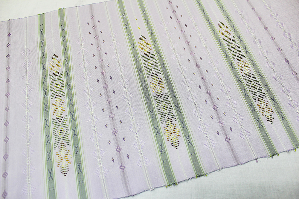 本場琉球花織 九寸名古屋帯「手織り 幾何学文様」
