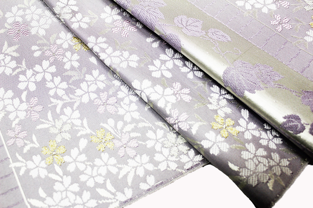 西陣織木原織物謹製 九寸名古屋帯「横段に蔦と桜」