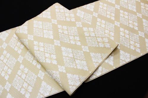 西陣織弥栄織物謹製 九寸名古屋帯「菱に花菱」