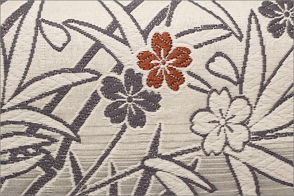 西陣織 佐々木染織・九寸名古屋帯(未仕立て品) 練色地に笹柄(仕立て代込み)