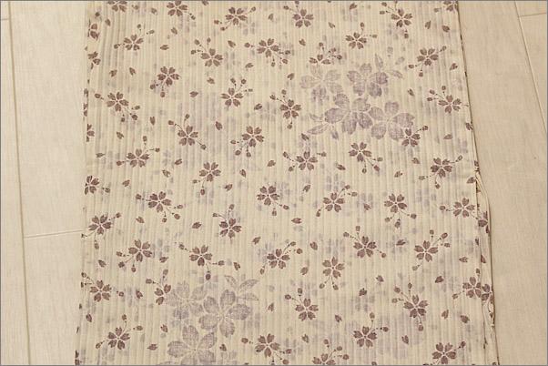 洗える着物 洗える夏着物 紗 アイボリー色系地に桜柄Mサイズ