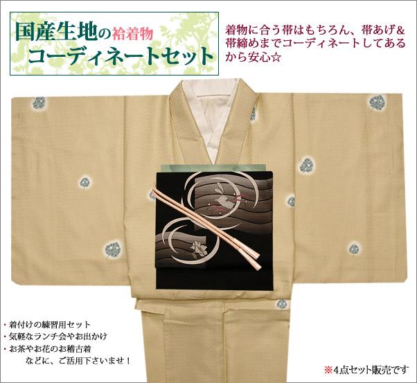 洗える袷着物セット Lサイズ クリーム地に虫食いの葉柄の着物と黒地にうさぎ柄の帯