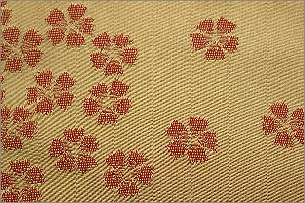 半幅帯 浴衣帯 紅海老茶色地に桜柄