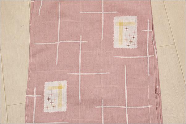 洗える着物 紗 夏着物 ピンク色系地に絣柄 Lサイズ