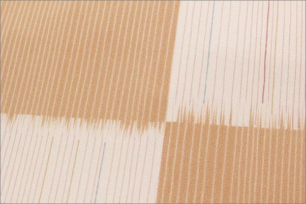 名古屋帯 白×ベージュピンクの市松柄 仕立て上がり