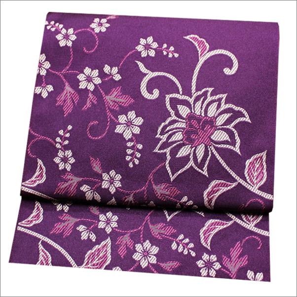 名古屋帯 八寸名古屋帯 ポリエステル 紫色系地に更紗柄