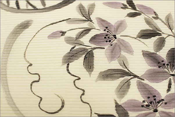 夏帯 名古屋帯(絽) クリーム地に花柄