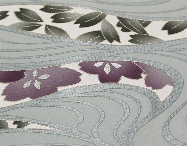 名古屋帯 ブルーグレー地に花と流水柄 仕立て上がり