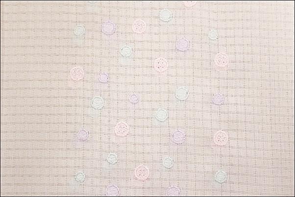 半襟 刺繍 格子絽の刺繍半衿 夏物 ピンクボタンと紫水玉柄