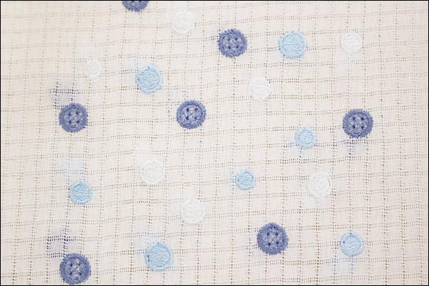 半襟 刺繍 格子絽の刺繍半衿 夏物 青系ボタンと水色水玉柄