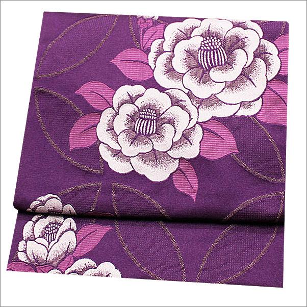 名古屋帯 八寸名古屋帯 ポリエステル 紫色系地に椿柄