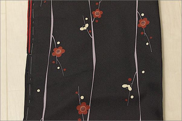 洗える着物 袷 小紋 Mサイズ 黒色地に梅柄