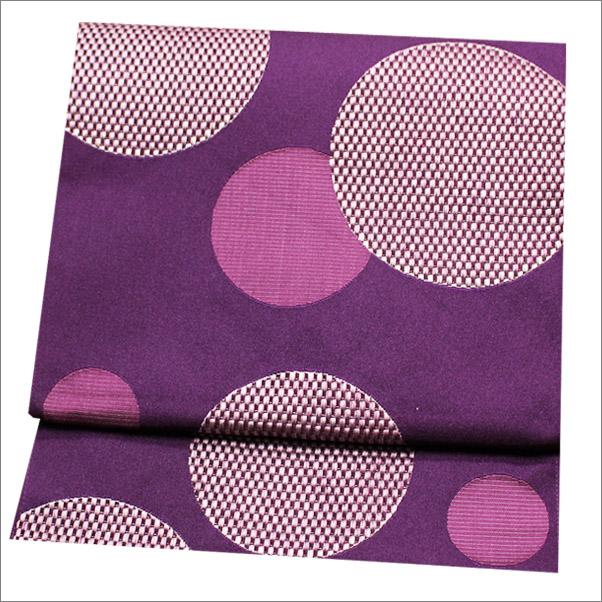 名古屋帯 八寸名古屋帯 ポリエステル 紫色系地に丸柄