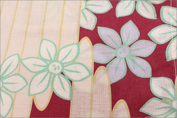 浴衣 ピンク色地に花柄・フリーサイズ