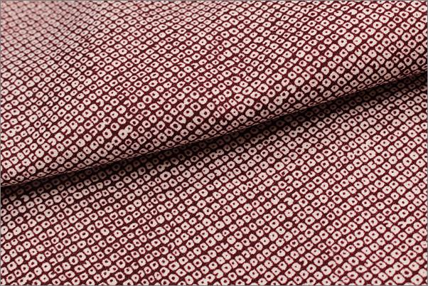 洗える着物 袷 小紋 しこん色系地に染め鹿の子柄 M/Lサイズ