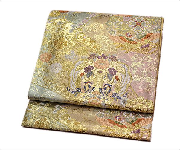 正絹・礼装用袋帯 未仕立て品 ゴールドにぼかし色系地に鳥と華柄(仕立て代込み)