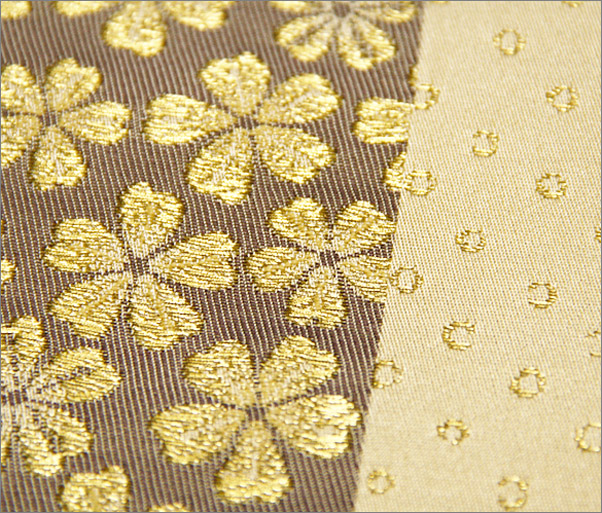 袋帯(東レ シルック糸使用) クリーム地に小花柄 仕立済み
