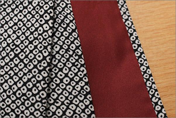 洗える着物 袷 小紋 黒色系地に染め疋田柄 M/Lサイズ