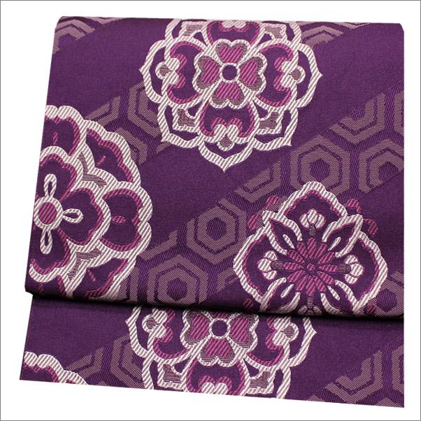 名古屋帯 八寸名古屋帯(ポリエステル) 紫色系地に華紋様柄