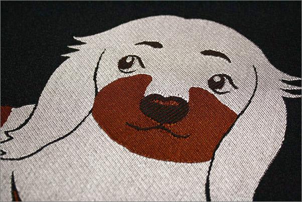 名古屋帯 八寸名古屋帯 ポリエステル 黒地に犬柄 お太鼓柄 オリジナル帯