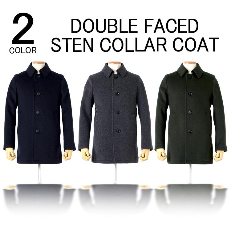 コート メンズ ビジネスコート WOOL素材 ビーバー加工 ダブルフェイス素材 ステンカラーコート M L LL