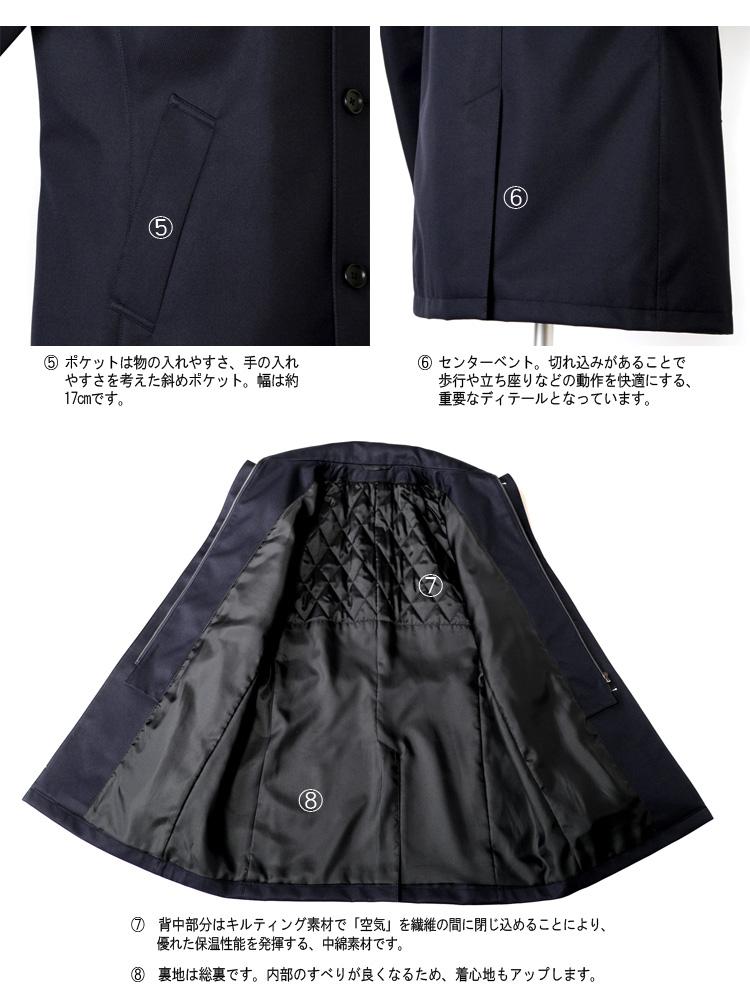 コート メンズ ビジネスコート スタンドカラーコート ボンディング素材 レイヤード゛仕立 中綿ライナー 取り外し可能 撥水加工 S M L LL