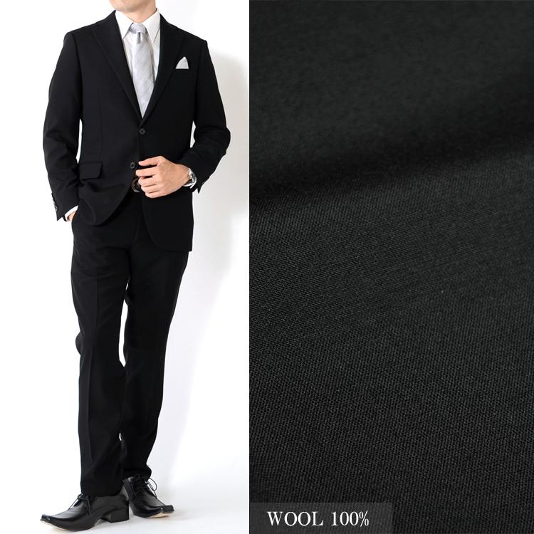スーツ ブラックスーツ フォーマルスーツ 礼服 冠婚葬祭 WOOL100% メンズスーツ スリムモデルスーツ Y体 A体 AB体 BB体 2ツボタンスーツ ビジネススーツ