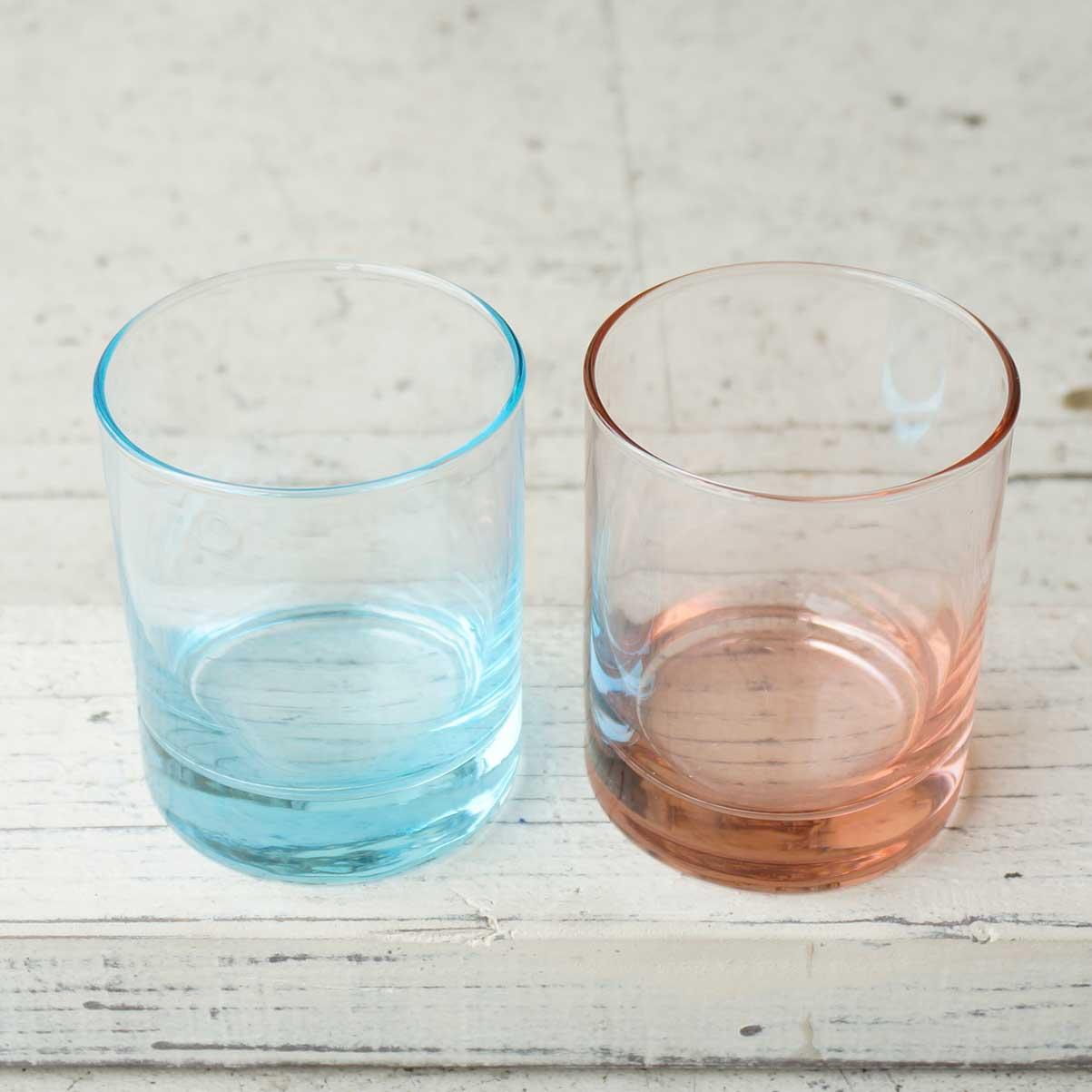 【SALE!!】アロマキャンドル用グラス ピンク (サークルL)【1個:3個:30個 フィルム別売り】