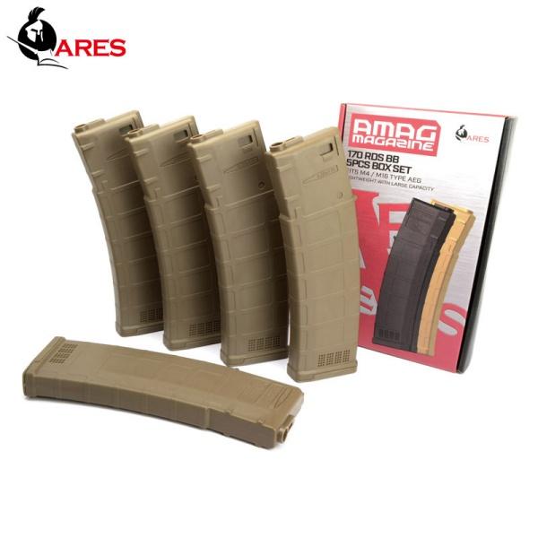 ■5本セット■ ARES AMAG ロング M4用 170連 マガジン デザートカラー