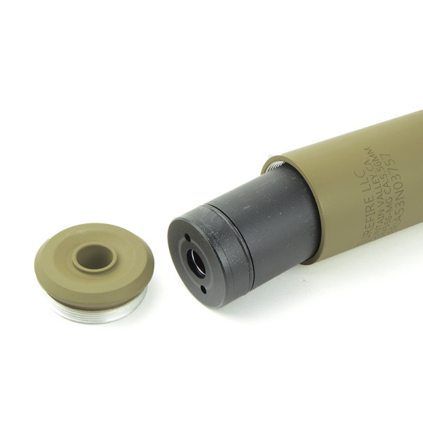 5KU トレーサー内蔵 SF SOCOM556-MG タイプ サプレッサー & ハイダー (14mm逆ネジ) デザートカラー